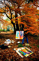 Autumn artist, modern and wild Hampstead Heath, London, UK