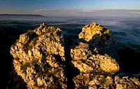 Jurassic Rocks, sunrise, morning mist, Franconian Switzerland, Bavaria, Germany