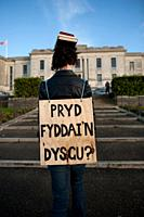 Soozy Roberts' performance intervention 'When Will I Learn' / 'Pryd Fyddai'n Dysgu' at the National Library of Wales, Aberystwyth UK