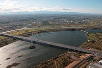 Aerial view of Arakawa river and bridge, Saitama Prefecture, Honshu, Japan