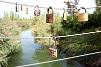 Padlocks, Parque de Cabecera, Valencia, Comunidad Valenciana, Spain  Couples come to Parque de Cabecera to put padlocks to 'seal'their love