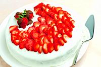 light yogurt cake with strawberries