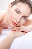 Close up of woman having spa treatment, portrait