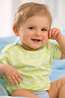 Baby girl 6_11 months smiling, portrait