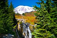 Mount Rainier and Myrtle Falls in Autumn