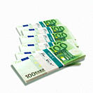 Bunches of 100 Euro notes on white background