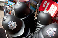 Toy police helmets for sale, London (thumbnail)