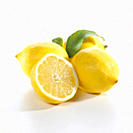 Lemons against white background, close_up