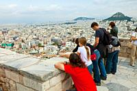View of Athens from the Acropolis and Hill of Licabeto, Athens, Greece