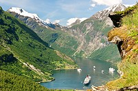 Cruiseship Queen Elisabeth II in Geiranger Norway