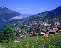 View over the car free village of Wengen, a popular summer and winter resort in the Swiss Alps