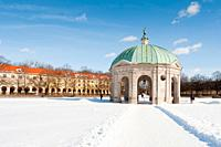 Monument to Goddess Diana, in a snow covered Hofgarten in Munich, Germany
