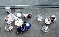 Paris, France, People Sharing Meals ion Cafe-Restaurant Terrace in Les Halles Area  Overview