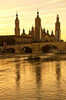 Ebro river crossing Saragossa  Aragon  Spain  Europe