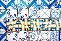Tiles, facade, Lisbon, Portugal