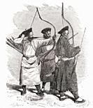 Chinese archers  From El Mundo en la Mano, published 1878