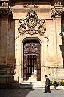 Baroque church facade in the old town of Martina Franca, Puglia, Italy