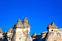 Landscape of limestone fairy chimneys, Zelve, Cappadocia, Turkey