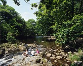 Beautiful scenery on Llugwy River in the picturesque Snowdonian village of Betws_y_coed