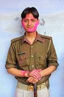 India, Uttar Pradesh, Holi festival, Policeman