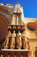 Statues of Apostles in the main door of the Cathedral (12th Century). Tarragona, Catalonia, Spain.