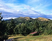 The six mile range of Malvern Hills viewed from British Camp, an Iron Age fort on the summit of Herefordshire Beacon