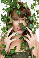 Woman with ivy covering her face (thumbnail)