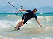 Kite Surfing In Front Of Hotel Dos Mares, Tarifa, Cadiz, Andalusia, Spain