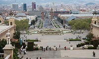 View Towards Placa D´espanya, Barcelona, Spain