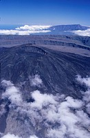 Aerial view of volcano Piton de la Fournaise , Reunion Island (France), Indian Ocean