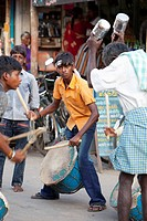 A Group Of Boys Making Music On The Street For The Hindu Street Festival, Sathyamangalam, Tamil Nadu, India