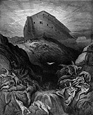 Gustave Doré, Black and White Engraving, The Dove Sent Forth from the Ark to find dry land