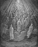 Gustave Doré, Black and White Engraving, The Angels in the Planet Mercury from Dante Alighieri' s Devine Comedy