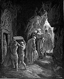 Gustave Doré, The Burial of Abraham's Wife, Sarah, Black and White Engraving