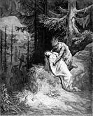Gustave Doré, Chactas Buries Atala from the novella by François-René de Chateaubriand, Black and White Engraving