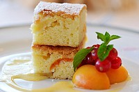 Hotel restaurant in Venice, cream cake with apricot and currant
