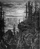Gustave Doré, A View of Niagara Falls from Chactas and Atala, a novella by François-René de Chateaubriand, Black and White Engraving
