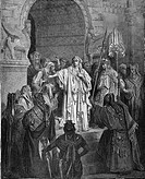 Gustave Doré, The Queen Vashti refusing to obey the command of Ahasuerus, Book of Esther, Black and White Engraving