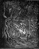 Gustave Doré, The Hermit Preaching in the Woods from Chactas and Atala, a novella by François-René de Chateaubriand, Black and White Engraving