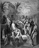 Gustave Doré, Jesus Blessing the Children, Mark Chap 10 v14 - 15Black and White Engraving