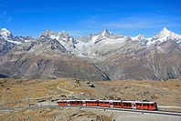 Gornergratbahn with mountains behind, Switzerland