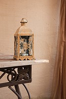 Decorative lantern on a table