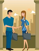 A business man and woman shaking hands