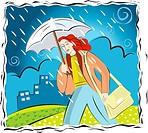 A woman caught in the rain under an umbrella
