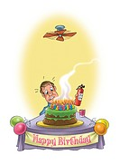 A man with a fire extinguisher and a birthday cake filled with candles