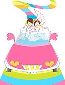 Illustration of a bride and groom driving along a rainbow