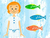 Illustration portrait of a woman next to three colored fish