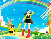 Illustration of a young woman and teddy bear under a rainbow surrounded by windmills