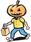 A trick_or_treater with a pumpkin head