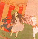 A young girl by a circus tent with a unicorn and goat